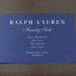 ラルフローレンのファミリーセールの招待状-2018春